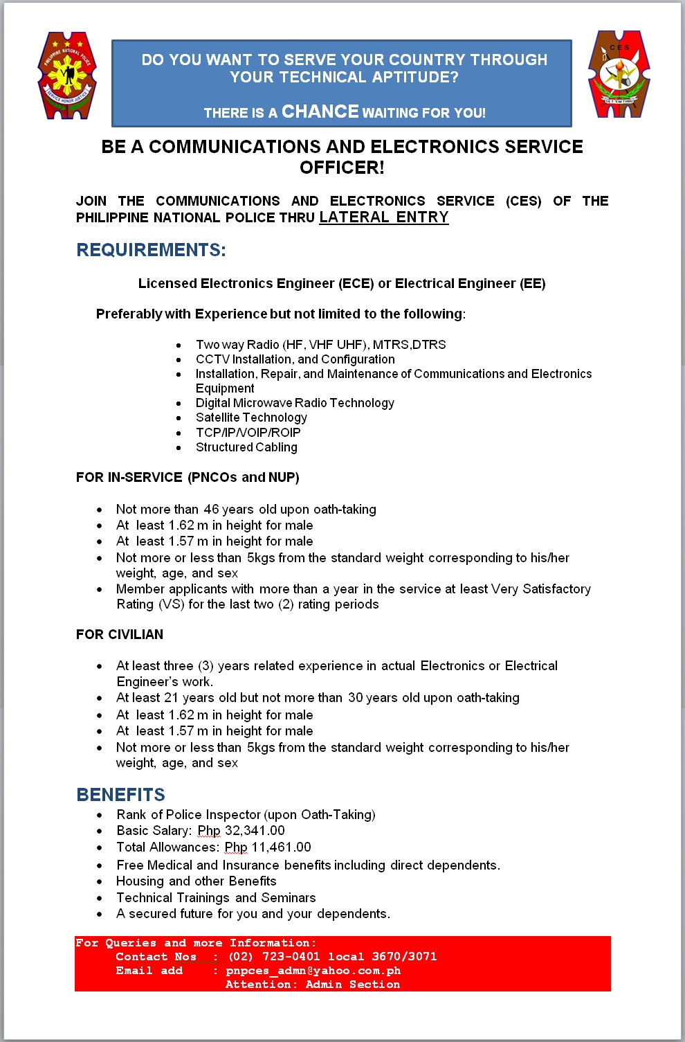 pnpces communications and electronics service lateral entry recruitment for calendar year 2017